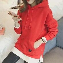 Drop Shipping Hoodies Women New Antumn Fleece Hooded Sweatshirt Harajuku Hight Quality Winter Patchwork Pocket Moletom