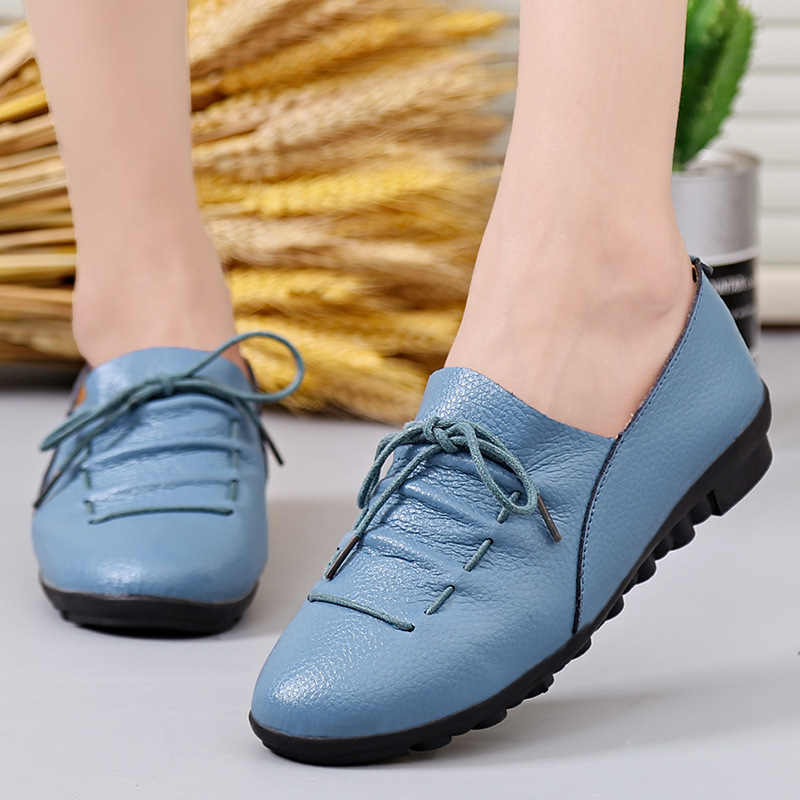Women's Flats Handmade Women Shoes Genuine   Leather   Flat Lacing Mother Shoes Woman Loafers Soft Single Flats Casual