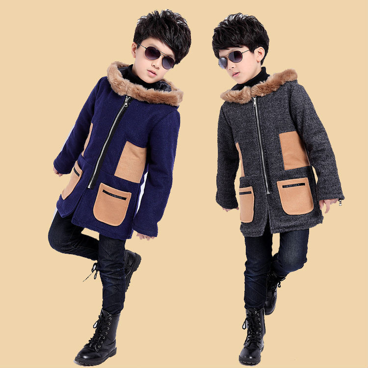 ФОТО Free shipping children clothes boy woolen cloth dust coat cloth With thick winter cotton-padded clothes coat