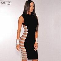 Adyce 2017 Fashion Summer Dress Women Hollow Side Striped Beads Embellished Mini Bandage Dress Evening Party