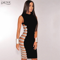 Adyce 2017 Fashion Summer Dress Women Hollow Side Striped Beads Embellished Mini Bandage Dress Evening Party