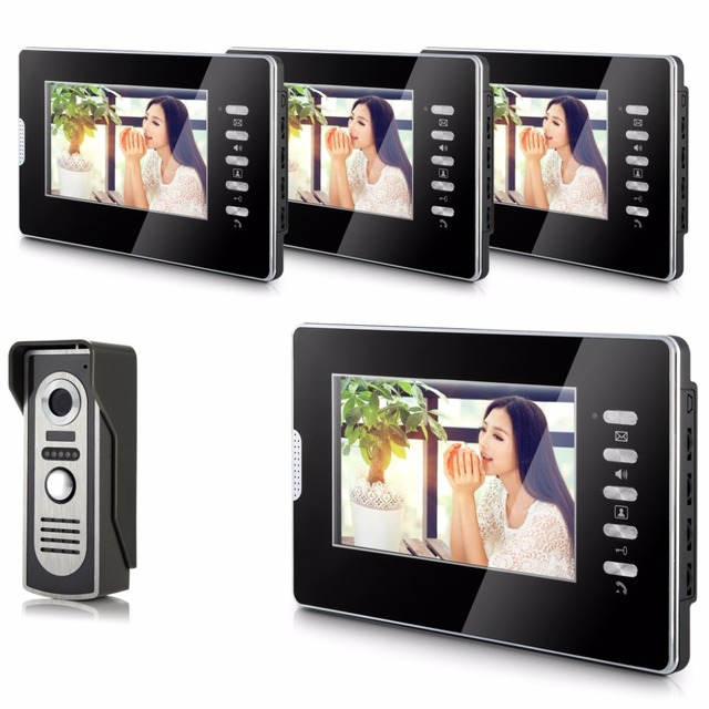 7 Inch TFT Color  LCD  Monitor Alloy Wired Intercom Video Door Phone 4 Monitor