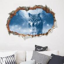 Efeito 3d janela lobo adesivos de parede floresta aves diy animal cartaz da parede para quartos das crianças sala estar quarto decoração mural arte