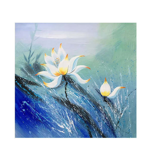 Abstract Painting Modern Art Lotus Flower Drawing On The Wall Living Room Canvas Picture Home Decoration