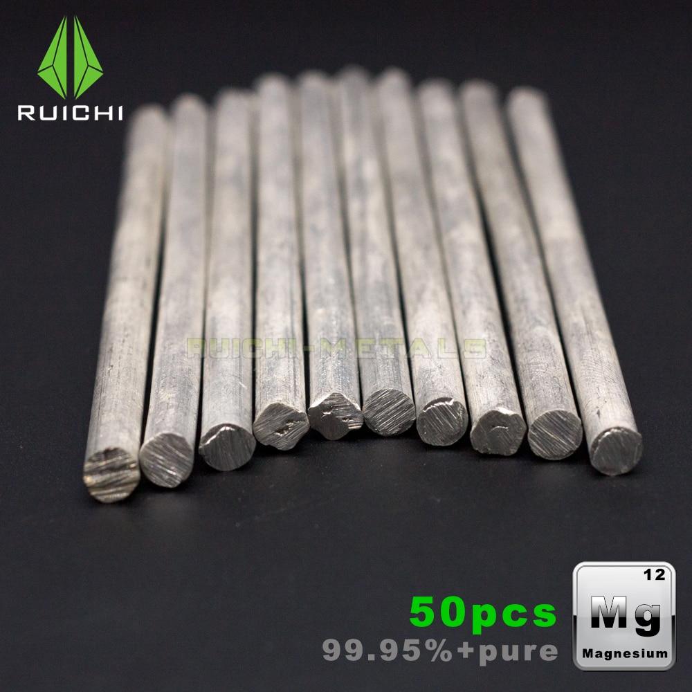 100 pièces Tiges de magnésium magnésium métaux bâtons 99.95% pur