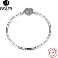 Authentic 925 Sterling Silver Love Heart Chain Snake Bangle 17CM 19CM 21CM DIY Jewelry PS905