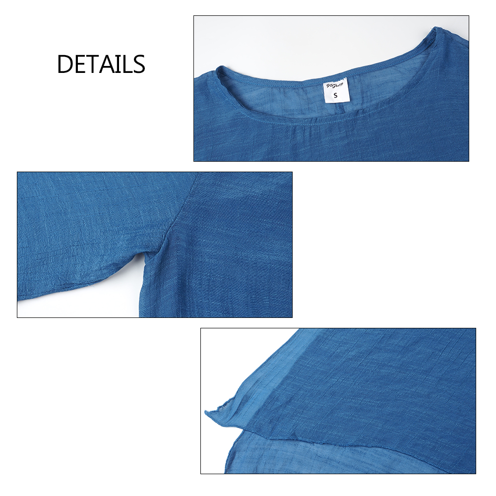 Clearance Sale<Solid Blouse Shirt Tunic Womens Tops Long-Sleeve Loose Soft Plus-Size Cotton Summer O-Neck