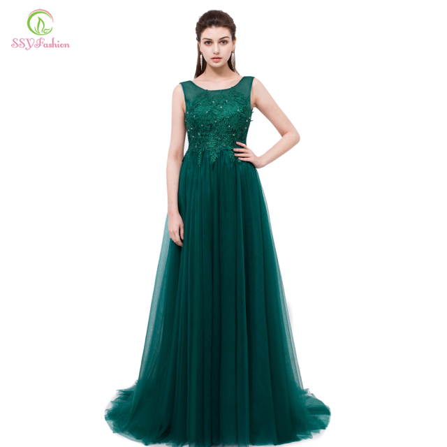 SSYFashion Green Lace Long Evening Dresses the Bride Banquet Elegant ...