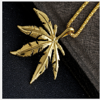 New Gold  Cannabiss Small Weed Herb Charm Necklace Maple Leaf Pendant Necklace Hip Hop Jewelry Wholesale Drop Shipping