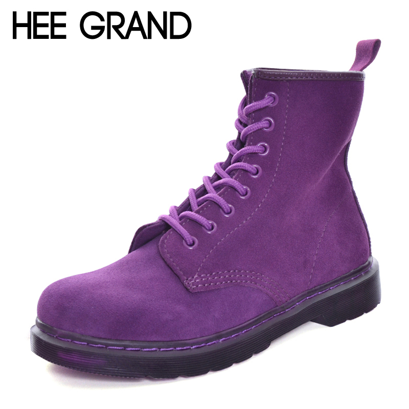 HEE GRAND Suede Motorcycle 2017 Winter Ankle Boots Women Slip on Warm  British Fashion Ankle Boots 7730d4b30255