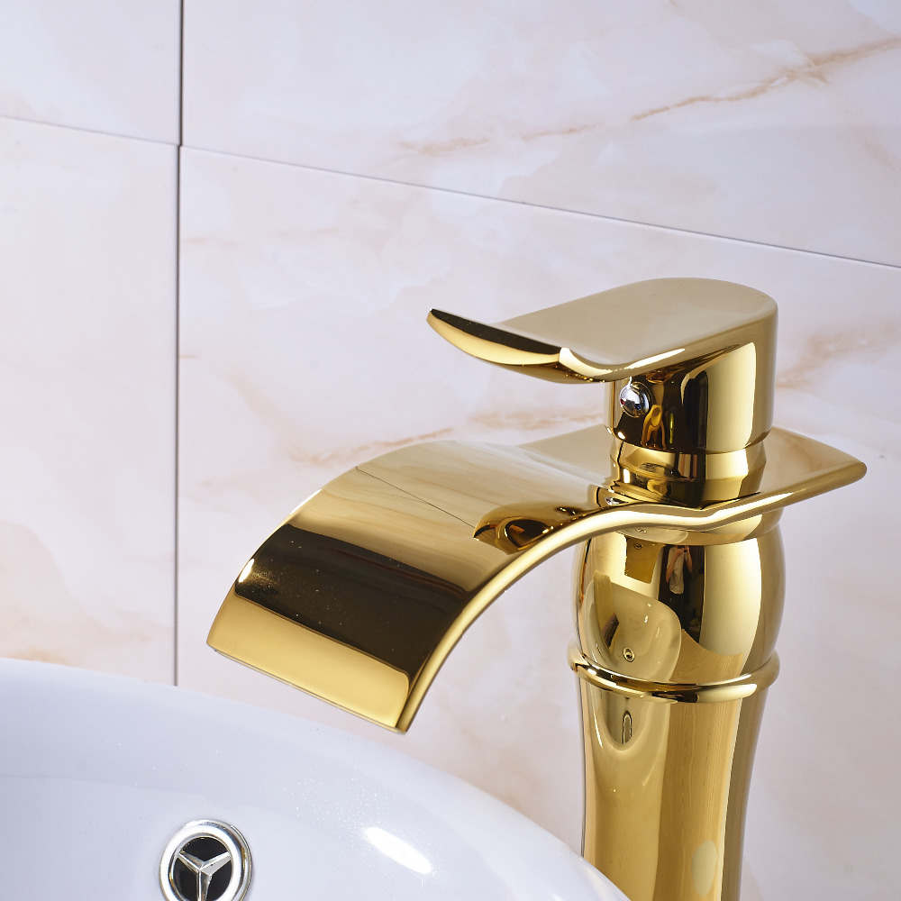Tall Solid Brass Golden Polish Big Waterfall Spout Bathroom Faucet ...