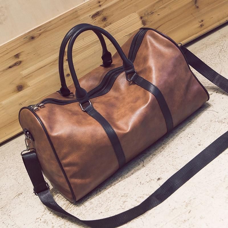 Men Travel Duffle Bag PU Leather Men's Travel Bags Black Shoulder Handbag Round Bucket Shape Messenger Bag Tote FD1903