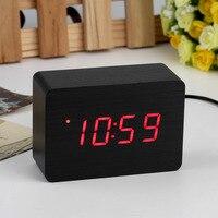 2017 Populaire Moderne capteur Bois Horloge Double affichage led Bambou Horloge numérique alarme horloge Led Horloge temps D'exposition Contrôle Vocal