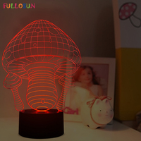 3D Illusion Mushroom Shape Decoration Lamp As Gift Free Shipping JC 2811