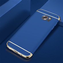 Luxury Gold Red Removable 3 in 1 Hard Plastic Case For Samsung S6 G9200 case PC Plating Matte Cover Galaxy