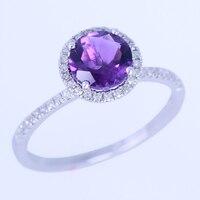 925スターリングシルバー6.5ミリメートルラウンド100%本物のアメジスト婚約結婚指輪パヴェ天然ダイヤモンドファインジュエリーリング卸