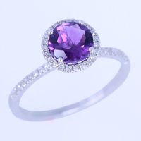 925 Sterling Silver 6.5mm Round 100% Genuine Amethyst Engagement Wedding Ring Pave Natural Diamonds Fine Jewelry Ring wholesale