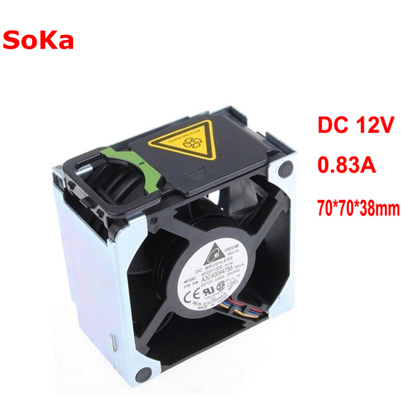 A3C40094788 Delta AFC0712DE-7K1M 38010022 Double Ball 4-Wire PWM12V Cooling Fan For FUJITSU For SIEMENS For PRIMERGY RX300 S5 S6 delta notebook cooling fan bsb0705hc 4 5v 0 36a double ball bearing