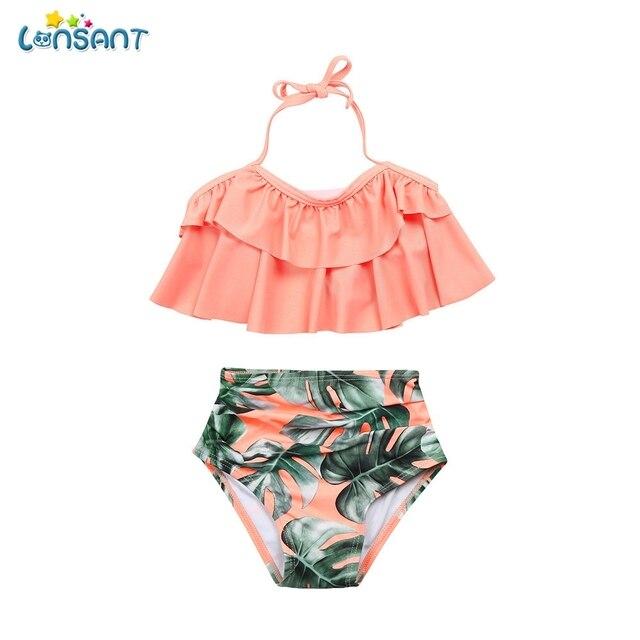 d75014933216c LONSANT New Hot Selling Summer Kids Baby Girls Ruffle Pink Bikini Set  Outfits Suit Swimsuit Swimwear Bathing Swimming Clothes
