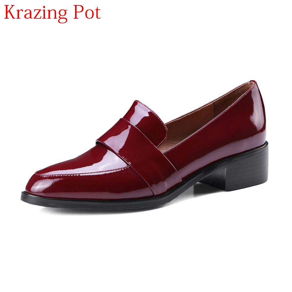 2018 Superstar Genuine Leather Streetwear Slip on Retro Solid Pointed Toe Women Pumps Fashion Office Lady Office Lady Shoes L55 2018 superstar genuine leather streetwear med heels tassel slip on women pumps round toe retro sweet handmade casual shoes l03