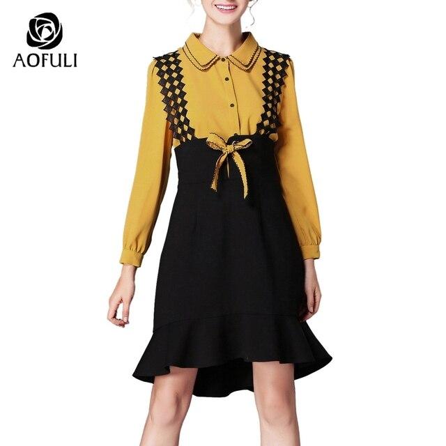 S 4xl 5xl Yellow Shirt Dress 2 Piece Suit Women Set Suspender