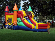 2014 hot rental inflatable bouncer house with dual slides