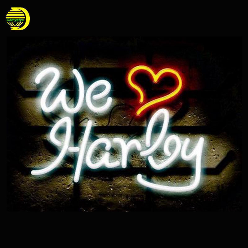 Neon Sign We Love Harley Neon Signs Real Glass Tubes Neon Bulb Signboard custom lighted with Plastic Board neon lights for sale juicy tubes блеск для губ 142 rouge neo neon