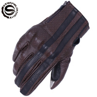 SFK Brown Retro Motorcycle Gloves Men Touch Screen Goatskin Leather Motorbike Motocross Glove Motocicleta Guantes Moto Luvas