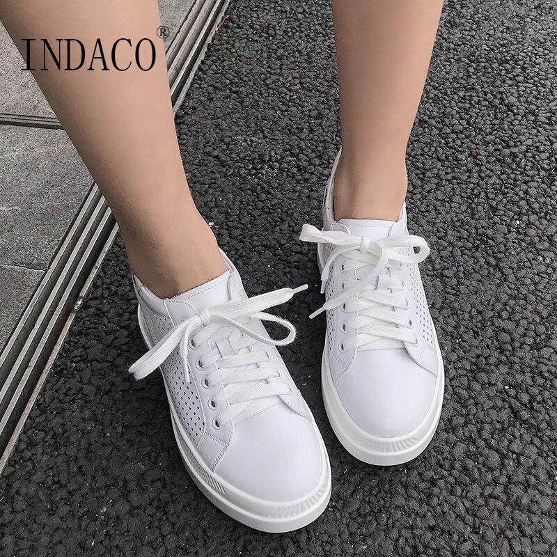 ارتفاع زيادة أحذية رياضية بيضاء النساء 2019 الربيع الصيف جلد التطريز حذاء كاجوال بفتحات تهوية 7.5 سنتيمتر-في أحذية مطاطية نسائية من أحذية على  مجموعة 2