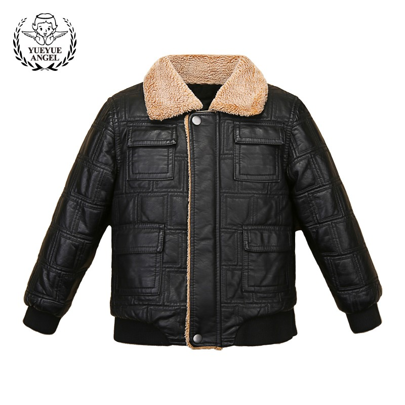 Boy Winter Fur Lining Outerwear Coat Kids Pu Leather Windbreaker School Boys Warm Fur Collar Jacket For Girls Children Casaco 2017 children wool fur coat winter warm natural 100% wool long stlye solid suit collar clothing for boys girls full jacket t021
