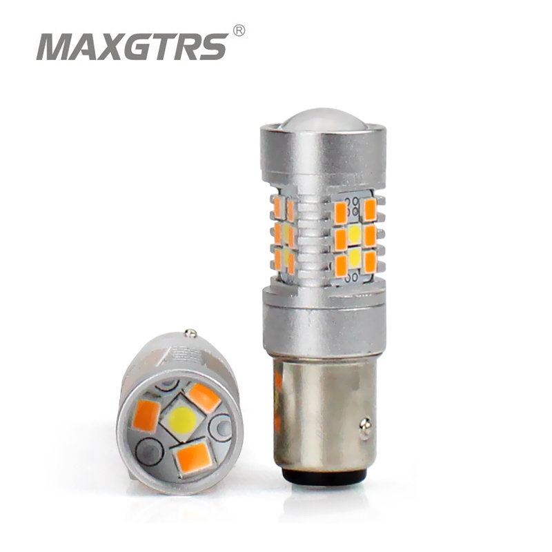 New 2x S25 1157 BAY15D Dual Color Type White Amber Yellow Switchback LED 3030 28smd LED DRL Turn Signal Parking Light Bulbs