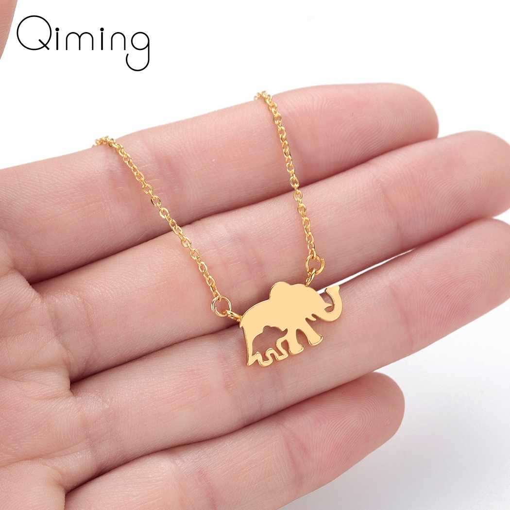 Cute Elephant Animal Necklace Thailand Women Fashion Vintage Jewelry Accessories Mini Gold Silver Pendant Necklace Gift