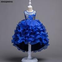 في المخزون أنيقة زهرة فتاة فساتين عالية منخفضة الملكي الأزرق أولا المقدسة بالتواصل للفتيات 3-16Y الأرجواني vestido daminha