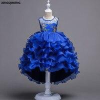Em Estoque Chic Alta Baixa Vestidos Azul Royal vestido de Primeira Comunhão Da Menina de Flor Vestidos para Meninas 3-16Y Roxo vestido daminha