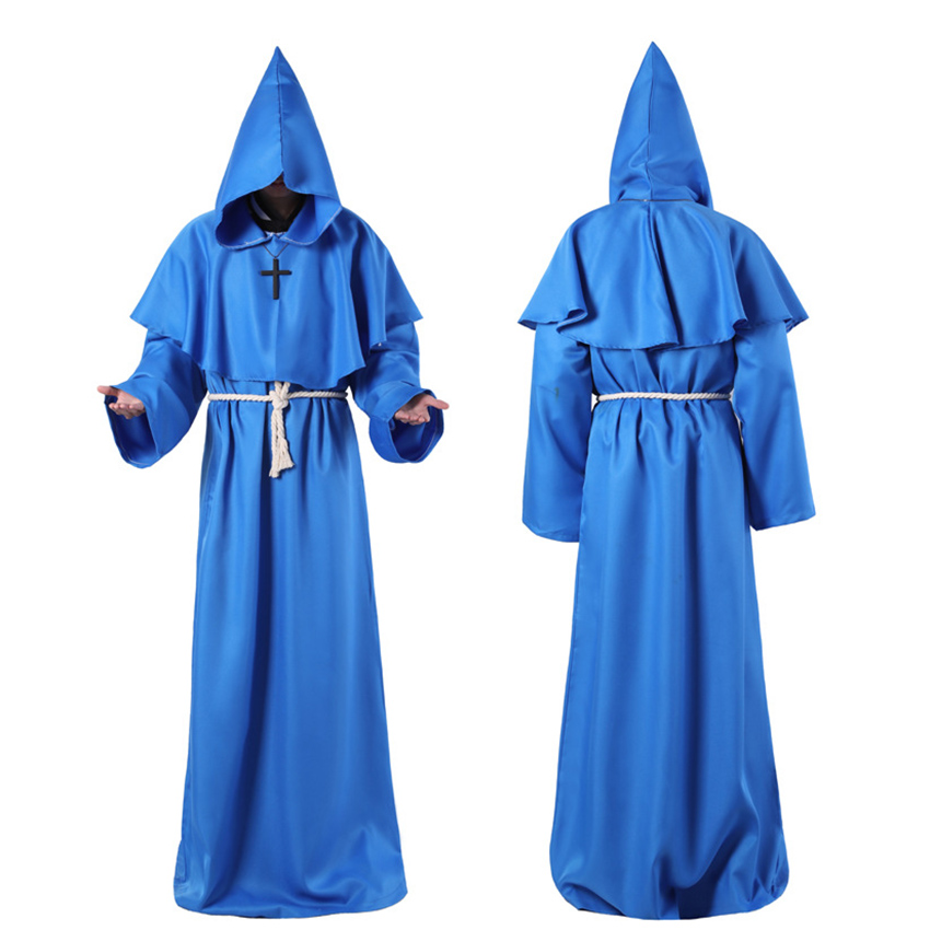Horror Grim Reaper Costume Men Vintage Monk Cosplay Cloak Robe Scary Wizard Costume Halloween Costumes for women Dress 8