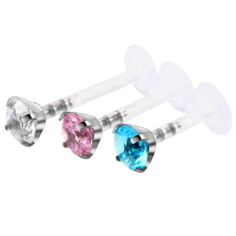 1ピース鋼& ptfeラウンドジルコンラブレットリップバーリングピアスクリア、ピンク、アクア耳軟骨珠セクシーな女の子のファッションジュエリー16グラム