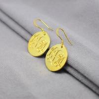Golden Monogram Drop Earrings Engraved 3 Initial Disc Dangler Bohemia Jewelry Boucle Arete Brinco