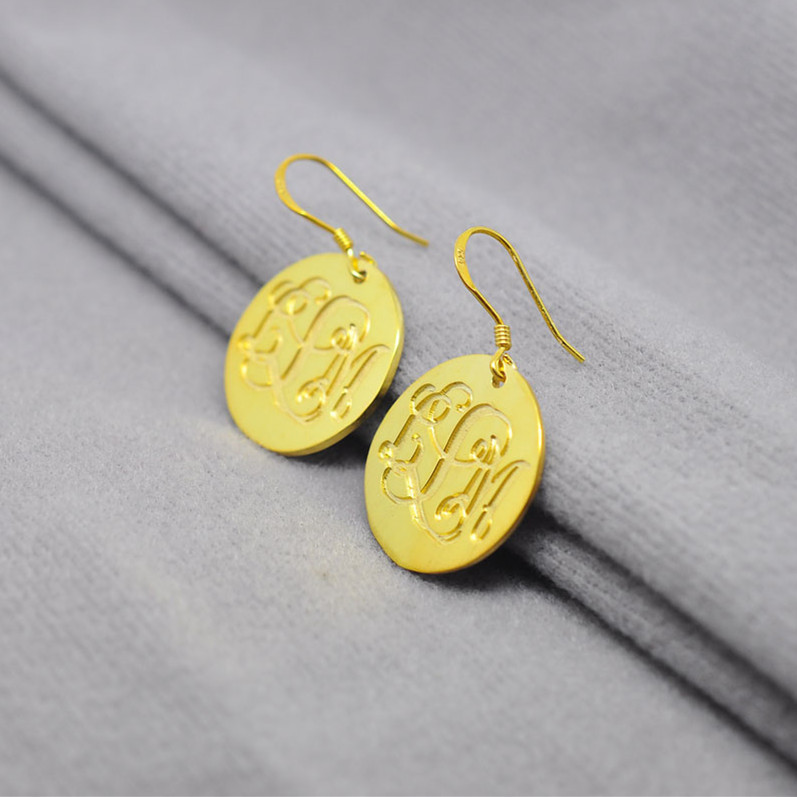 Golden Monogram Drop Earrings Engraved 3 initial Disc Dangler Bohemia Jewelry boucle arete brinco обои gaenari arete 81041 1