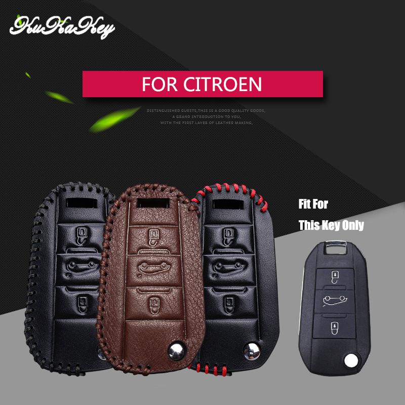 KUKAKEY Genuine Leather Flip Folding Car Key Case Cover For Citroen Triunph Sega CACTUS C5 C3 C4L AIRCOR 4S Shop Gift Key Holder
