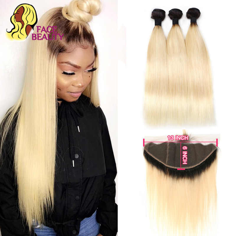 Facebeauty 1B 613 Dark Root Blonde Ombre Brazilian Remy Straight Hair 3/4 Bundle with 13x6 Lace Frontal Closure Free Middle Part