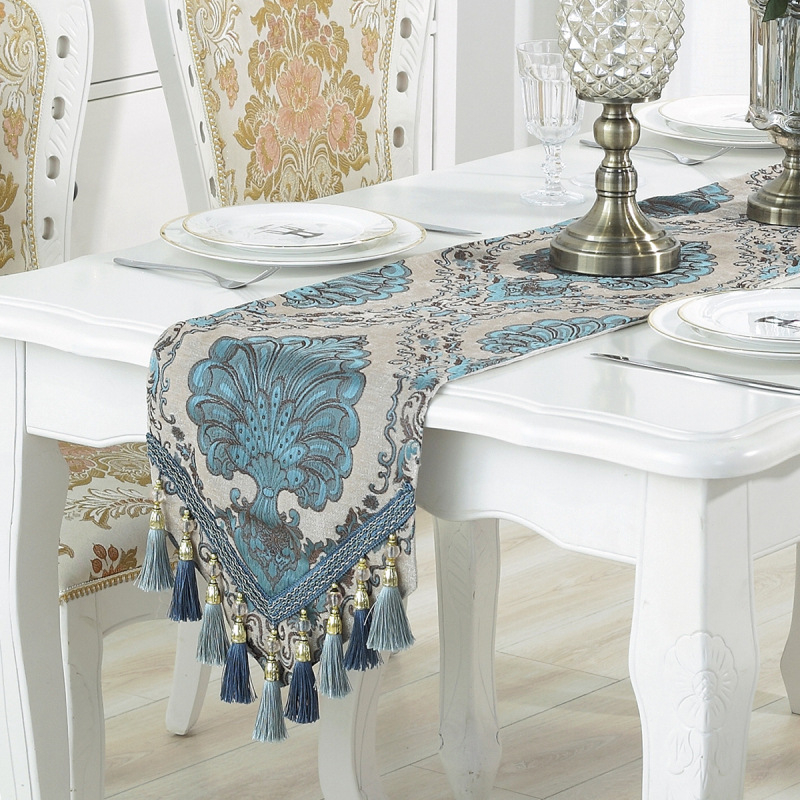 European Style Chenille Table Runners With Tassels Luxury Runners For Tablecloth  TV Cabinet Bed End Cover Home Textile 33*210CM