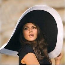 Hot 2016 fashion women Beach hats for summer straw hat beach cap sun Sexy  ladies Black and white large brim