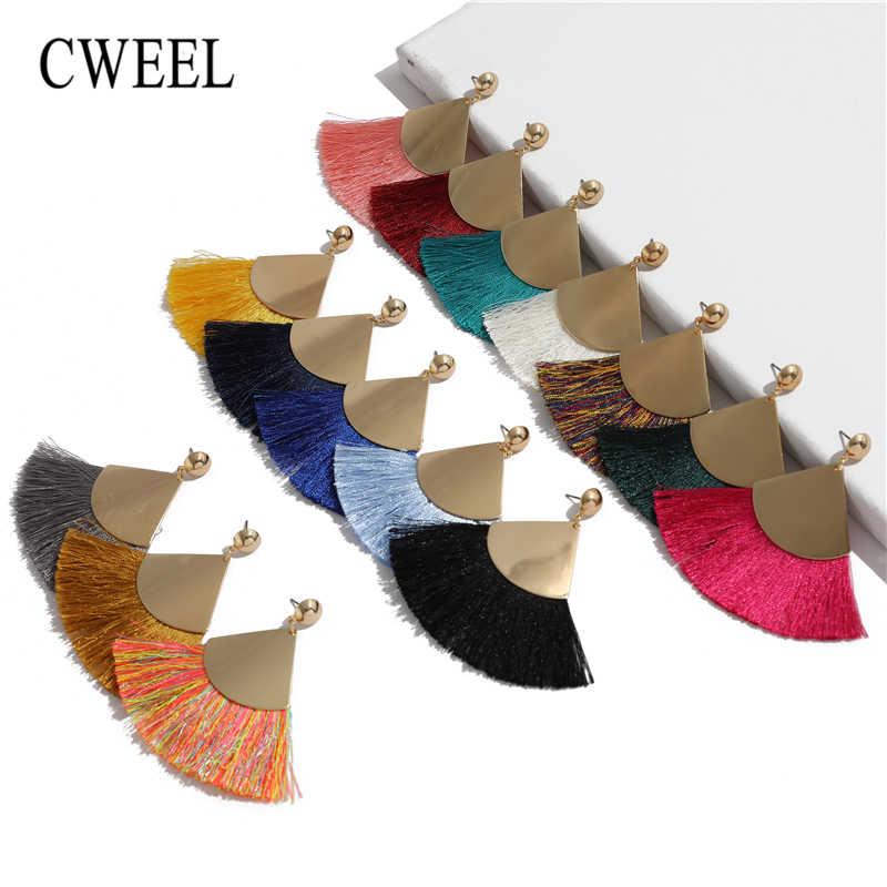 CWEEL พู่สีเหลืองต่างหูสำหรับผู้หญิง Boho Bohemian Gold สี Big Dangle Drop Vintage Geometric Statement ต่างหู Tassels