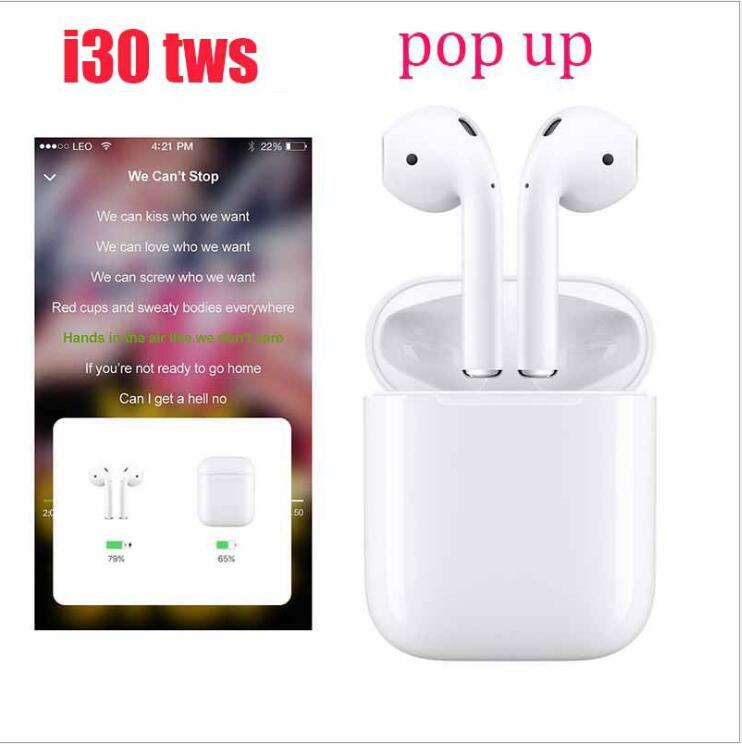 Amicable I30 Tws 1:1 Replica Pop-up Wireless Earphone 6d Super Bass Bluetooth 5.0 Earphones I30 Tws Pk I20 I10 I12 Not W1 Chip