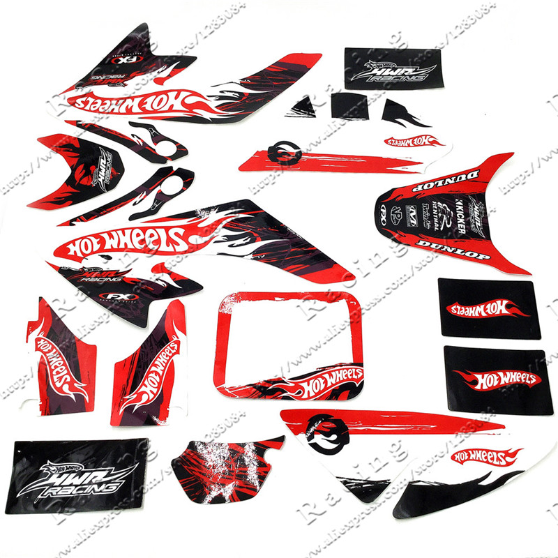 3M Decals Emblems Stickers Graphics CRF50 SSR SDG DHZ Thumpstar Pit Dirt Bike Red/Black Colour