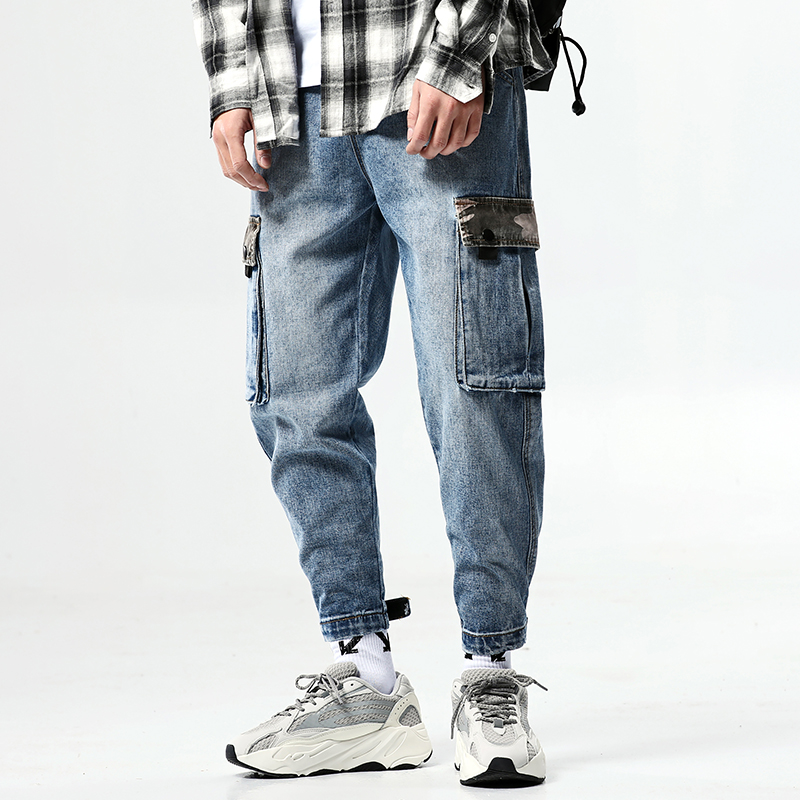 Streetwear Jogger Men Jeans Pants 2019 Spring Camouflage Patchwork Mens Harem Pants Ankle-Length Denim Trousers Men