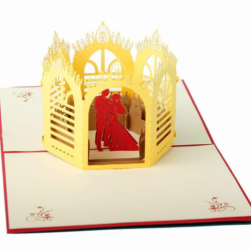 (10 pieces/lot)Wholesale Wedding Gift Three-dimensional Handmade Wedding Greeting Card Diy Paper Art 3D Commercial Crown Card