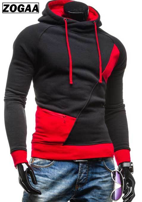 spring and autumn new hoodie men's matching color patchwork jumper Korean version of men's coat 1