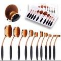 10 PCS Conjunto Forma Oval Maquiagem Jogo de Escova MULTIUSO Escova Profissional Fundação Creme Em Pó Cosméticos Escova Kit Com Caixa