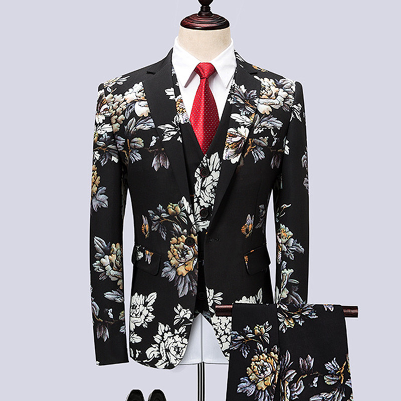 Blazers Pants Vest Sets / Fashion Men's Casual Boutique flower Floral Print Suit jacket coat trousers waistcoat 3 pieces suits - 2